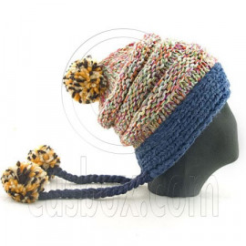 Colored Beanie w/ Back Braids Poms Winter Hat NEW NWT DARK BLUE
