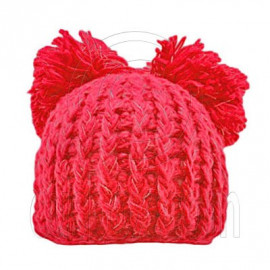 Warm Plain Wooly Beanie w/ Two Top Lovely Poms (CHERRY RED / CERISE)
