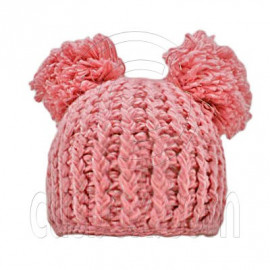 Warm Plain Wooly Beanie w/ Two Top Lovely Poms (PINK)