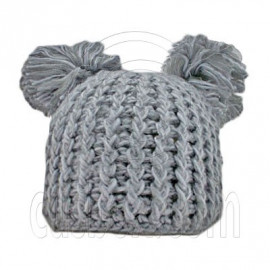Warm Plain Wooly Beanie w/ Two Top Lovely Poms (GRAY)