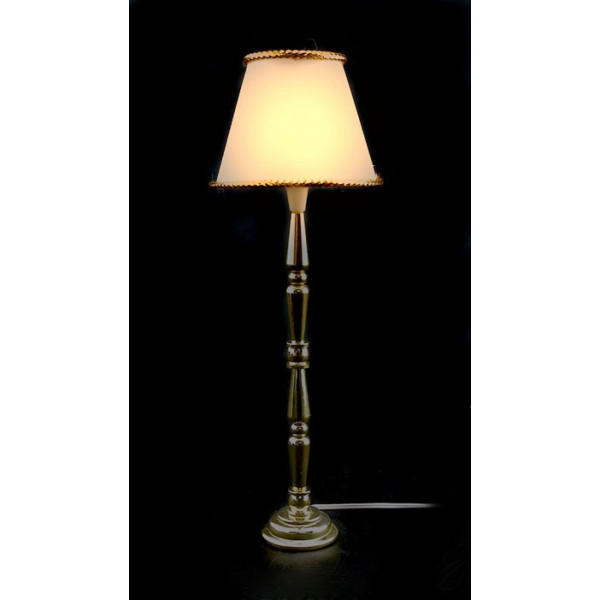 shade fringed floor lamp 12v light dollhouse miniature. Black Bedroom Furniture Sets. Home Design Ideas