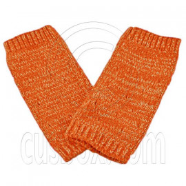 Unisex Fingerless Plain Short Gloves Gorgeous (ORANGE with tiny golden thread)