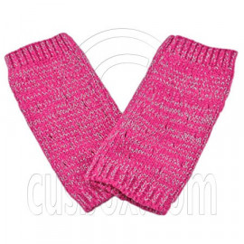 Unisex Fingerless Plain Short Gloves Gorgeous (PURPLE PINK with tiny silver thread)
