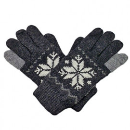 Men's Full Finger Wooly Cuff Gloves w/ Fluffy Lining (BLACK SNOWFLAKE)