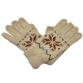 Men's Full Finger Wooly Cuff Gloves w/ Fluffy Lining (LIGHT BROWN SNOWFLAKE)