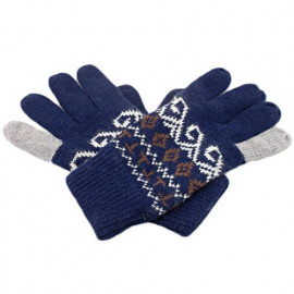 Men's Full Finger Wooly Cuff Gloves w/ Fluffy Lining (DARK BLUE SPIRAL)