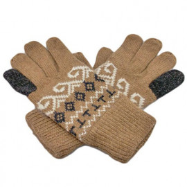 Men's Full Finger Wooly Cuff Gloves w/ Fluffy Lining (BROWN SPIRAL)