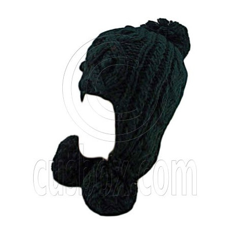 Plain Wooly Pop Pom Cable Beanie with Earflaps (BLACK)