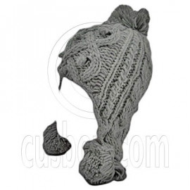 Plain Wooly Pop Pom Cable Beanie with Earflaps (GRAY)