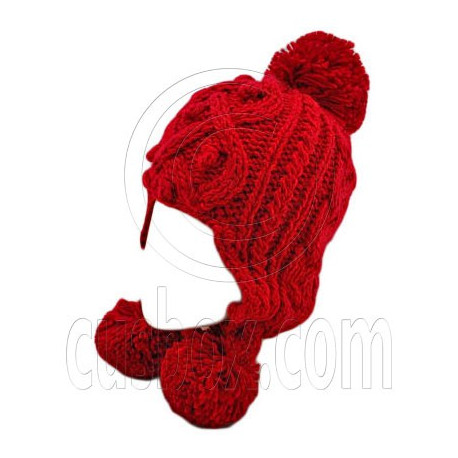 Plain Wooly Pop Pom Cable Beanie with Earflaps (RED)
