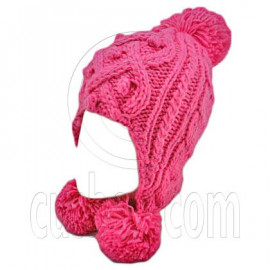Plain Wooly Pop Pom Cable Beanie with Earflaps (HOT PINK)