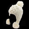Plain Wooly Pop Pom Cable Beanie with Earflaps (BEIGE WHITE)