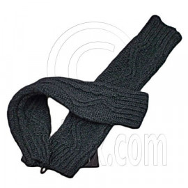 Fingerless Wooly Gloves with Wave Zig-Zag Pattern (GRAY BLACK)
