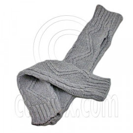 Fingerless Wooly Gloves with Wave Zig-Zag Pattern (GRAY)