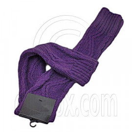 Fingerless Wooly Gloves with Wave Zig-Zag Pattern (PURPLE)