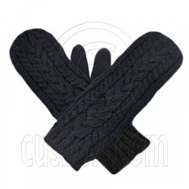 Men's Wooly Mittens Gloves with Cable Pattern (BLACK)