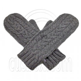 Men's Wooly Mittens Gloves with Cable Pattern (GRAY)