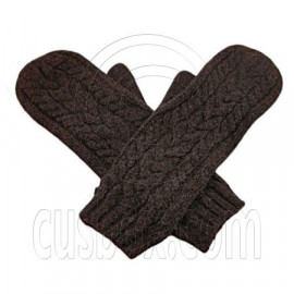 Men's Wooly Mittens Gloves with Cable Pattern (DARK BROWN)
