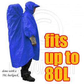 BlueField 2in1 Backpack Rain Cover Rain Coat (fits up to 80L) (ROYAL BLUE)