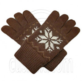Men's Full Finger Wooly Cuff Gloves w/ Fluffy Lining (BROWN SNOWFLAKE)