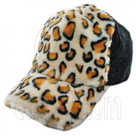 Cheetah Leopard Pattern Baseball Plush Corduroy Cap (Black)