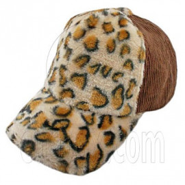 Cheetah Leopard Pattern Baseball Plush Corduroy Cap (BROWN)