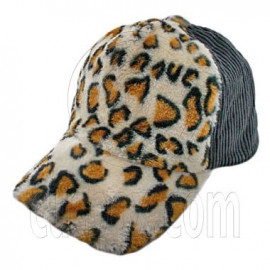 Cheetah Leopard Pattern Baseball Plush Corduroy Cap (GRAY)