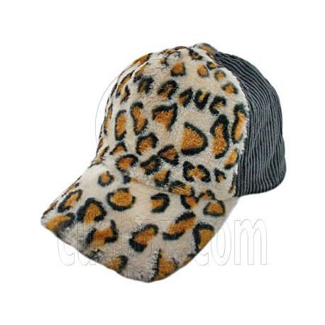Cheetah Leopard Pattern Baseball Plush Corduroy Cap (GRAY)