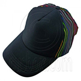 Plain Colour with Colored Striped Mesh Baseball Cap (Full Black)