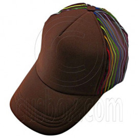 Plain Colour with Colored Striped Mesh Baseball Cap (Full Brown)