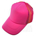 Plain Colour with Colored Striped Mesh Baseball Cap (Full Hot Pink)