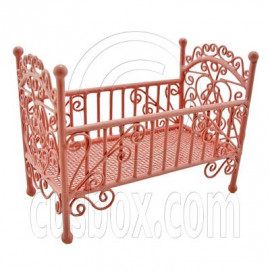 Pink Wire New Bedding Crib Cradle Cot 1:12 Doll's House Dollhouse Furniture MIB