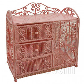 Pink Wire Dresser Chest Cabinet 1:6 for Barbie Doll's House Dollhouse Furniture
