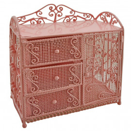 Pink Wire Dresser Chest w Drawer Cabinet 1:12 Doll's House Dollhouse Furniture