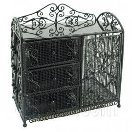 Black Wire Dresser Chest Cabinet 1:6 for Barbie Doll's House Dollhouse Furniture