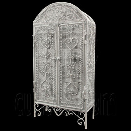 White Wire Cabinet Storage Unit Armoire 1:12 Doll's House Dollhouse Furniture