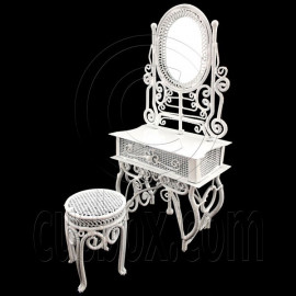 White Wire Vanity Mirror Chair New Set 1:12 Doll's House Dollhouse Furniture MIB