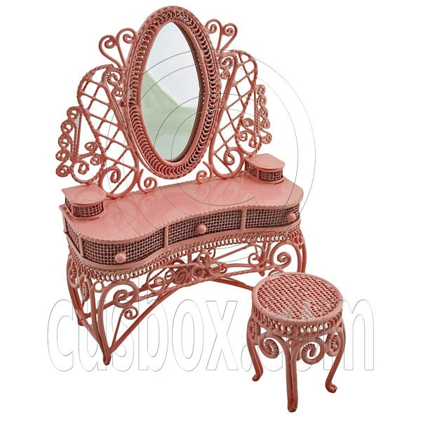 Pink Wire Vanity Mirror + Chair 1:12 Dollu0027s House Dollhouse Furniture Set  MIB