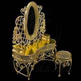 Gold Wire Vanity Mirror + Chair 1:12 Doll's House Dollhouse Furniture Set MIB