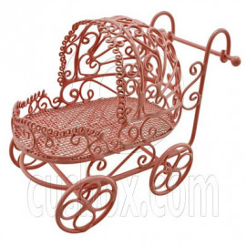 Pink Wire Nursery Baby Stroller Pram 1:12 Doll's House Dollhouse Miniature MIB