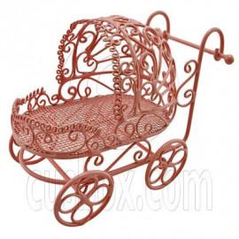 Pink Wire Nursery Baby Stroller Pram 1:12 Doll's House Dollhouse Miniature MIB