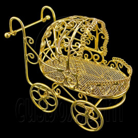 Gold Wire Nursery Baby Stroller Pram 1:12 Doll's House Dollhouse Miniature MIB