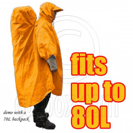 BlueField 2in1 Backpack Rain Cover Rain Coat (fits up to 80L) (ORANGE)