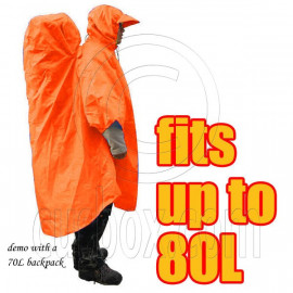 BlueField 2in1 Backpack Rain Cover Rain Coat (fits up to 80L) (ORANGE RED)