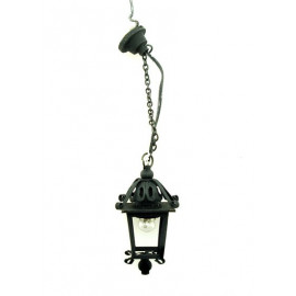 Black Iron Long 9V 12V Ceiling Lamp Dollhouse Miniature