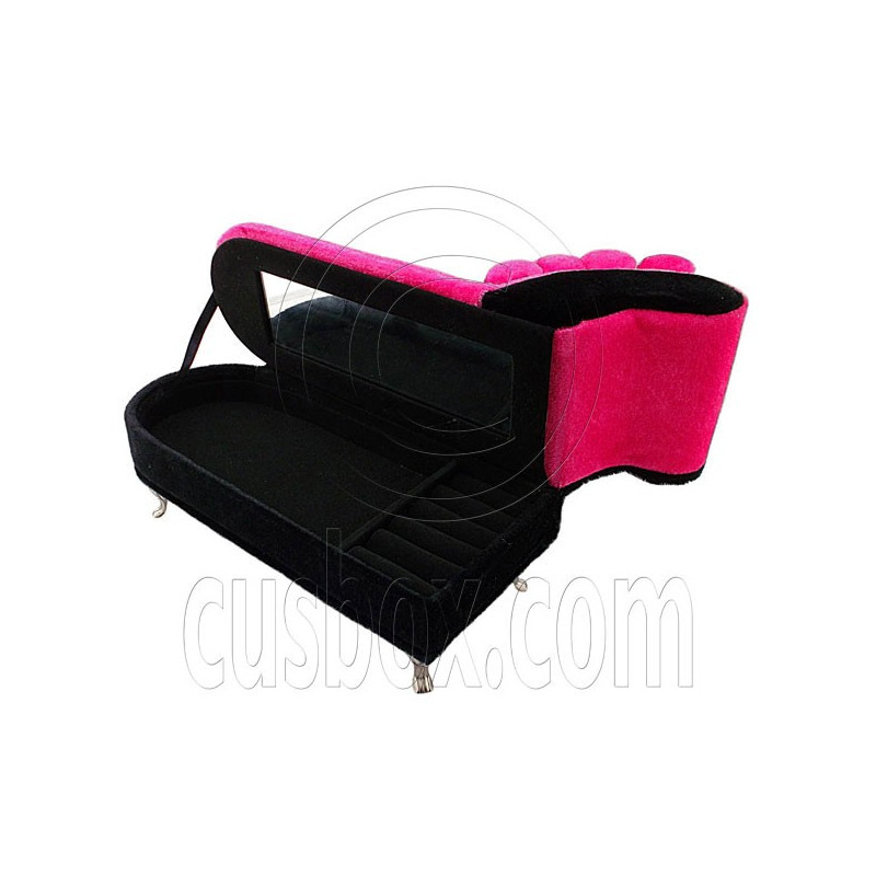Pink chaise longue sofa jewelry box 1 6 barbie doll 39 s for Chaise jewelry box