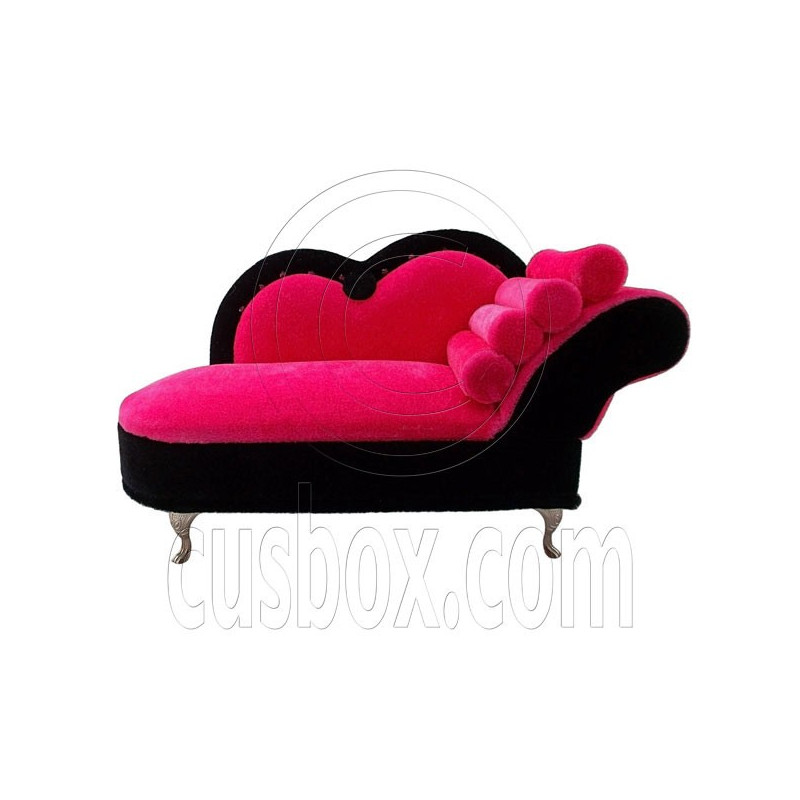 Pink chaise longue sofa jewelry box 1 6 barbie doll 39 s for Sofa 1 plaza chaise longue
