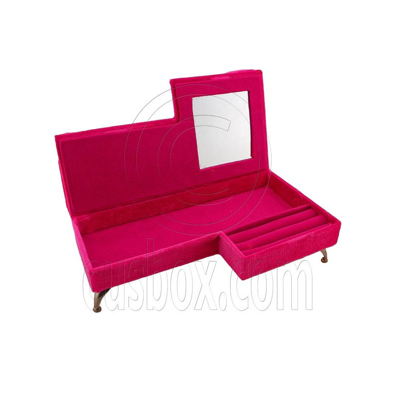Pink beads chaise longue long sofa jewelry box 1 6 barbie for Chaise jewelry box