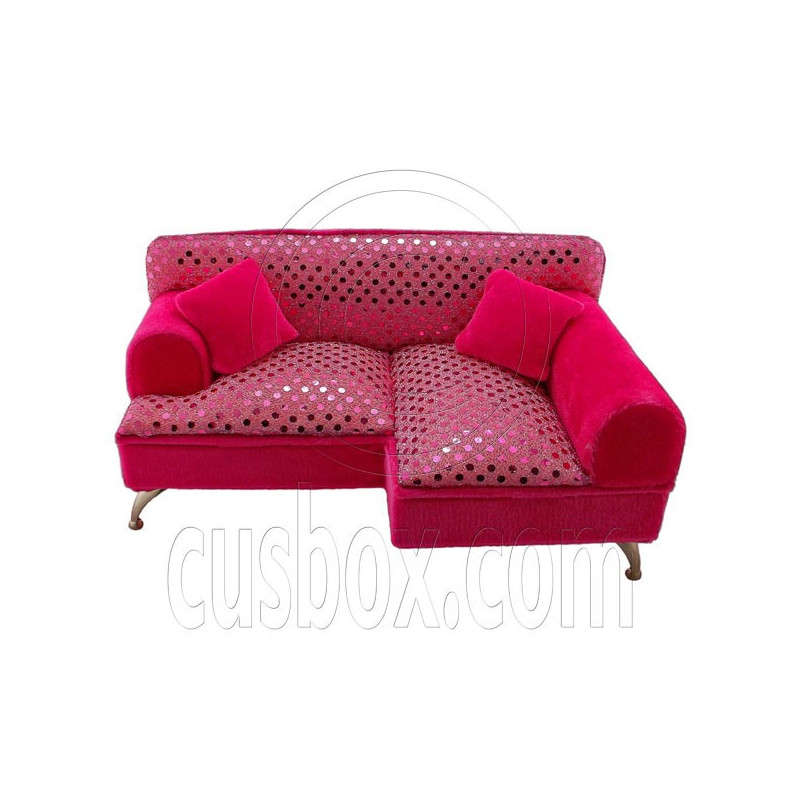 pink beads chaise longue long sofa jewelry box 16 barbie dolls house dollhouse furniture barbie furniture dollhouse