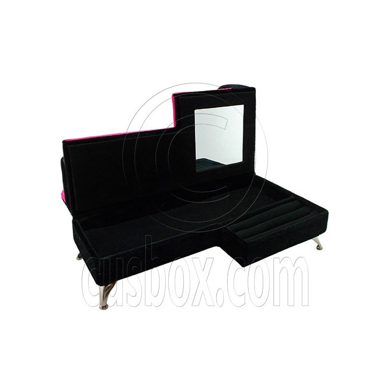 Black pink plush sofa chaise longue jewelry box 1 6 barbie for Chaise jewelry box